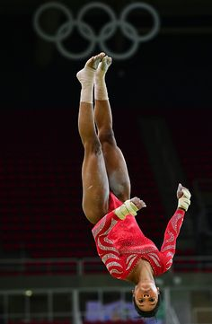 #RIO2016 US gymnast Gabrielle Douglas practices on the vault during a training session at the women's Artistic gymnastics at the Olympic Arena on August 4...