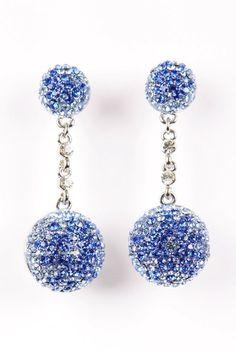 Ocean Blue Crystal Ball Earrings