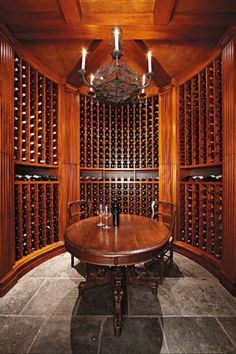 Home wine cellar. I'm thinking comfy recliner couches, and end tables as well though. And an excellent sound system for classical music.
