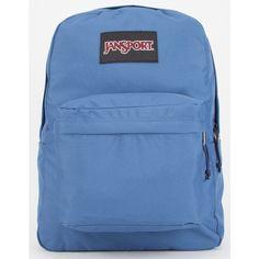JanSport SuperBreak Backpack ($41) ❤ liked on Polyvore featuring bags, backpacks, ocean, jansport rucksack, padded bag, jansport bags, rucksack bag and jansport