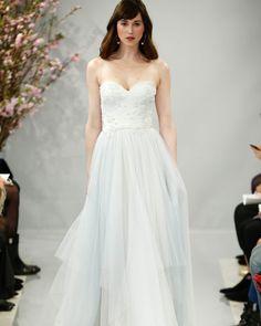 Theia Spring 2018 Wedding Dress Collection | Martha Stewart Weddings – Strapless A-line wedding dress with blue underlay