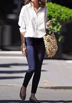 What's New: This white cutout poplin shirt is designed with full front buttons and dainty cutouts. Another factor that makes this shirt office-friendly is its long sleeves and Johnny collar, giving this top a smart chic vibe. Pair it with jeans and pumps to nail that office chic look.