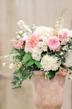 Lush pink floral urn centerpiece with shades of white and blush - beautiful for a spring or summer wedding! Bhldn Bridesmaid Dresses, Summer Wedding, Wedding Day, Blush Peonies, Blush Bouquet, Romantic Lace, Shades Of White, Blush Color, Floral Centerpieces