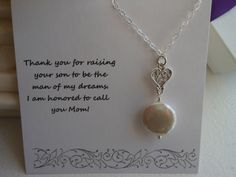 Mother of the Groom Gift Thank You Mom by YourFabulousWedding
