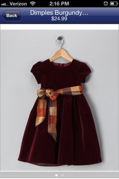 Take a look at this Dimples Burgundy Puff-Sleeve Velvet Dress - Infant & Toddler by Time to Shine: Girls' Apparel on today! Kids Party Wear Dresses, Kids Dress Wear, Baby Dress Design, Baby Girl Dress Patterns, Baby Frocks Designs, Kids Frocks Design, Girls Dresses Sewing, Little Girl Dresses, Cotton Frocks For Kids