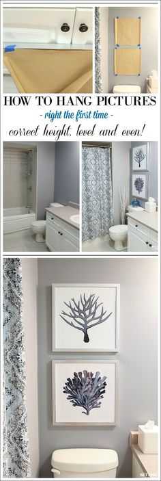Pictures and art add beauty to any room - even the bathroom! See how I chose the PERFECT artwork to go with our bathroom paint color undertones! Plus the simple DIY trick I use to hang pictures perfectly straight, even and at the correct height every time- no more guesswork! Take the mystery out of what size and color of art to hang in a bathroom and the correct height to hang it with a few simple decor guidelines! I'm also sharing 5 useful interior home decor tips to get that designer look…