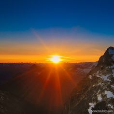 Sunset will bring a bit of a chill to a great climb to the top of Mt Albert in British Columbia Canada from base camp at Mailbu. The hike was well worth the view.