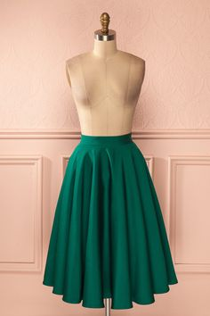 Jupe mi-longue trapèze vert forêt doublée tulle - Emerald green a-line mid-length tulle lined skirt