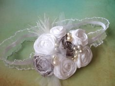 White and Light Silver/Gray Headband Baby Girl by AldonasBoutique,