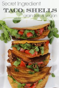 Looking for grain free options for your favorite meals? These Secret Ingredient Grain Free Taco Shells are Paleo and Vegan! You won't believe these. It's pretty rare find baked goods that are both grain and egg free, but these taco shells are perfect!<br /><br />