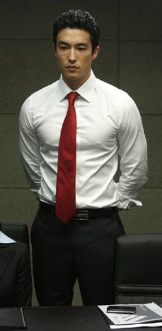 "With the black pants, white shirt and red tie, Daniel Henney has the wardrobe, body and face to play Jae-chun ""Jason"" Lee. Daniel Henney, Most Beautiful Man, Gorgeous Men, Dennis Oh, Hot Asian Men, Asian Guys, White Shirt Men, Pretty Men, Pretty Boys"