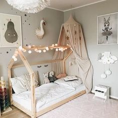Transition bed canopy magical girl room decor