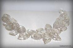 Beaded Silver Glass Seed Bead Hair Vine