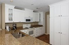 white appliance and cabinets  | white kitchen cabinets and white appliances (add crown molding to top ...