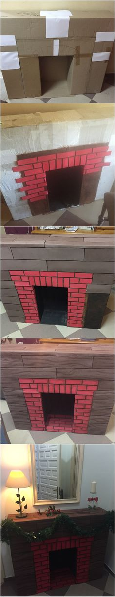Como hacer una Chimenea navideña   How to make a cardboard Christmas fireplace