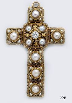 Diamond, Natural Pearl and Carved Gold Arts and Crafts Cross Pendant by Edward Oakes at Nelson Rarities Inc.