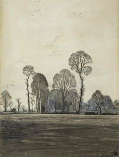 Paul Nash , Ploughed Fields at Iden. Pencil, wash, pen & ink and crayon, ca.1929