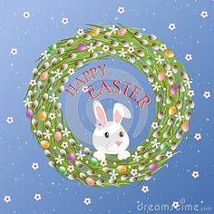 Postcard Happy Easter. Easter wreath with bunny