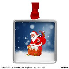 Cute #SantaClaus with #Gift Bag #Christmas Snow Star Metal #Ornament #Christmasornament #christmasdecoration