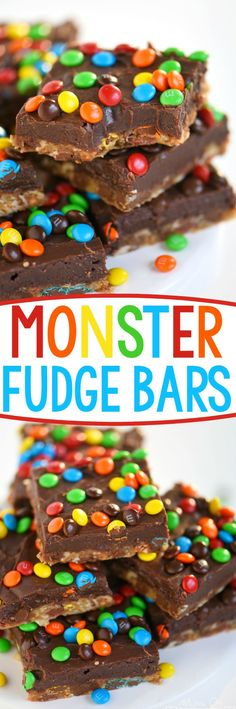 No one can resist these EASY Monster Fudge Bars! Oatmeal chocolate chip cookie bars topped with easy fudge and mini M&M's! This is one decadent treat!: