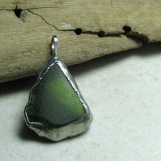 Green Genuine Sea Glass Pendant Recycled Rustic by AdroitJewelers, $32.00