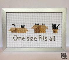 One Size Fits All Cardboard Box Black Cat - Cat Cross Stitch Pattern