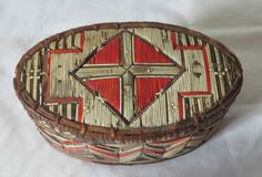 Antique MicMac Quill Box, oval w/spruce root wrap & great design