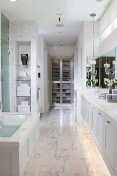 Modern Master Bathroom with Simple Marble, Flush, Pendant light, Simple marble counters, Undermount sink, Glass panel
