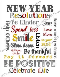 New Year Resolutions Subway Art. Instant Download  High Resolution JPG.  Printable. DIY by personalityplus on Etsy https://www.etsy.com/listing/114315502/new-year-resolutions-subway-art-instant