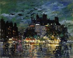 Konstantin Alekseevich Korovin - View of Paris by Night oil on board, mounted as a drawing; 33 x 41 cm © Ashmolean Museum TAGS konstantin korovin Nocturne, Paris By Night, Art Uk, Russian Art, Art Reproductions, Art World, Amazing Art, Landscape Paintings, Cool Art