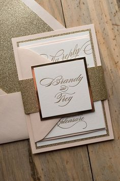 elegant wedding invitation with monogram, blush and gold, glitter wedding invites, letterpress