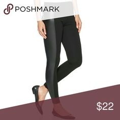 HUE black leggings with faux leather NWOT Hue brand leggings with faux leather side panel, 64% rayon,  32% nylon,  4% spandex HUE Pants Leggings