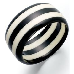 Robert Rose Black and White Striped Bangle Bracelet ($12) ❤ liked on Polyvore featuring jewelry, bracelets, bangles, accessories, bangle bracelet, hinged bracelet, bangle jewelry, lucite bangle and hinged bangle