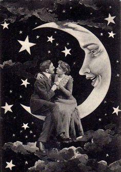 A romantically lovely paper moon portrait. Paper Moon, Art And Illustration, Vintage Art, Vintage Photos, Vintage Style, Vintage Photography, Art Photography, Tableaux Vivants, Moon Photos