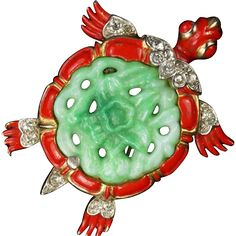 TRIFARI 'Alfred Philippe' Red Enamel Simulated Jade Belly 'Ming Turtle' Pin/Clip