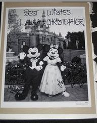 """send minnie and mickey an invitation and they'll send you back an autographed photo and """"just married"""" buttons.  Mickey & Minnie  The Walt Disney Company  500 South Buena Vista Street  Burbank, California 91521"""