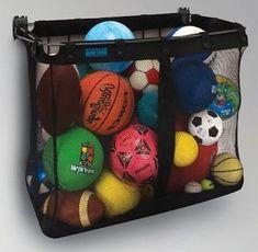28 Brilliant Garage Organization Ideas   Mesh Wall Mount Storage cheap ball storage til get framed one?