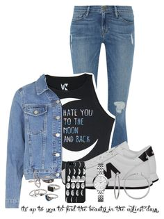 """""""Black & White"""" by nina4ever14 ❤ liked on Polyvore featuring Frame Denim, Topshop, New Balance, FOSSIL and Mudd"""