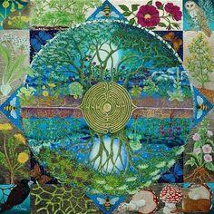 Taurus Full Moon Labyrinth Mandala Oak Trees Creatures Earth As Above, So Below Mandala Art, Chakra System, Circle Of Life, Tree Of Life, Art Visionnaire, Tutorial Photoshop, Quilt Modernen, Visionary Art, Psychedelic Art