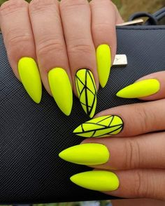 So cute neon yellow nails for summer 2019 Check out the trending summer nail colors and designs to make your decision easily and choose what suits you for summer Neon Yellow Nails, Yellow Nails Design, Yellow Nail Art, Neon Nails, My Nails, Pastel Nails, Neon Nail Art, Glitter Nails, Summer Acrylic Nails