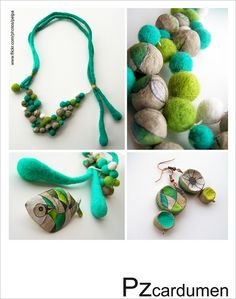 Pzcardumen, felted and paper pulp balls Paper Jewelry, Textile Jewelry, Fabric Jewelry, Clay Jewelry, Jewelry Art, Felted Jewelry, Wet Felting, Needle Felting, Shibori