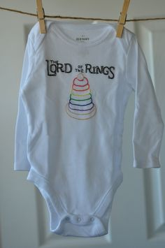 Hand-embroidered Lord of the Rings onesie, made to order. $20.00, via Etsy.    So funny!
