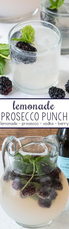Punch - this easy cocktail punch comes together in minutes with just 3 main ingredients! It's perfect for a summer party!Prosecco Punch - this easy cocktail punch comes together in minutes with just 3 main ingredients! It's perfect for a summer party! Easy Cocktails, Cocktail Drinks, Alcoholic Drinks, Beverages, Prosecco Cocktails, Bbq Drinks, Cocktail Ideas, Bourbon Drinks, Vodka Cocktails Summer