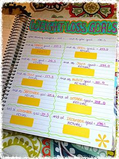 My weight loss goals on my Erin Condren Life Planner!