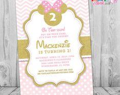 Invitación de cumpleaños de Minnie Mouse por PristinePrintCo