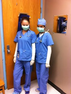 Idea for twin day. Scrubs, gloves, mask, shoe cover, surgical cap, badges, and…