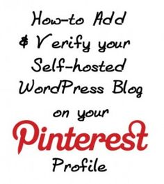 How to Add and Verify Your Website on Your Pinterest Profile for Self-hosted WordPress Blogs - Mommiedaze