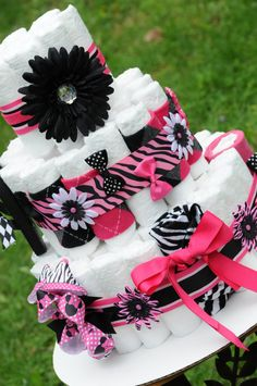 Diaper Cake Girls Baby Shower Gift / Center Piece Zebra Prints (((83 Piece Set))). $120.00, via Etsy.