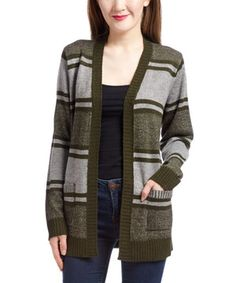 Love this IB Diffusion Light Heather Gray & Forest Night Stripe Boyfriend Cardigan by IB Diffusion on #zulily! #zulilyfinds