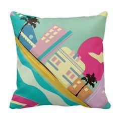 Vintage 1980s Miami Poster Pillow